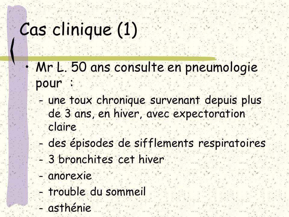 Cas clinique (1) Mr L. 50 ans consulte en pneumologie pour :