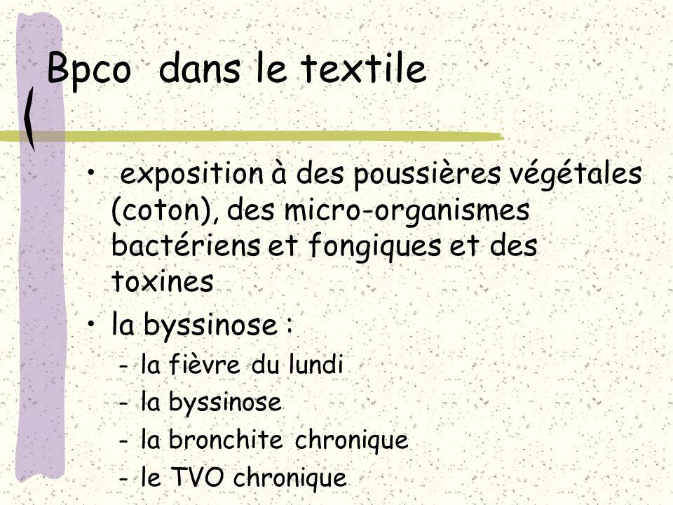 Bpco dans le textile exposition à des poussières végétales (coton), des micro-organismes bactériens et fongiques et des toxines.