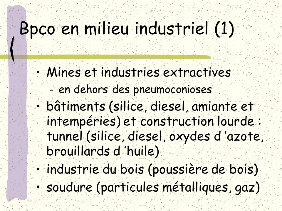 Bpco en milieu industriel (1)