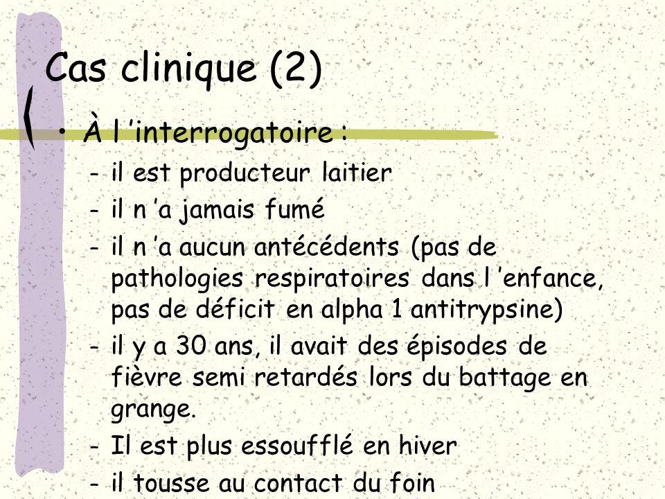 Cas clinique (2) À l 'interrogatoire : il est producteur laitier