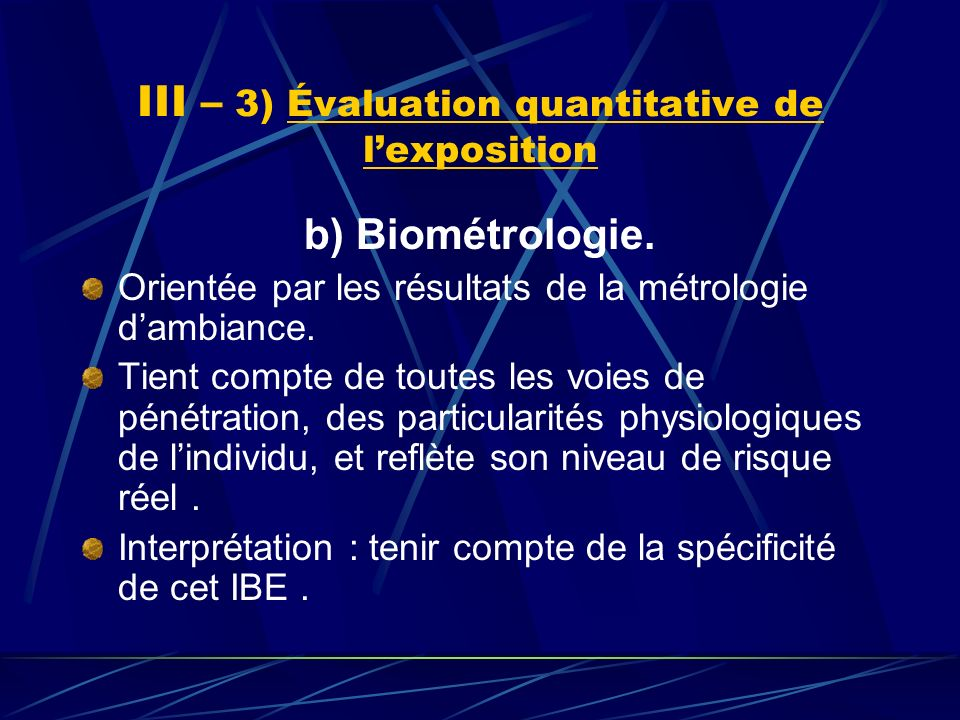 III – 3) Évaluation quantitative de l'exposition