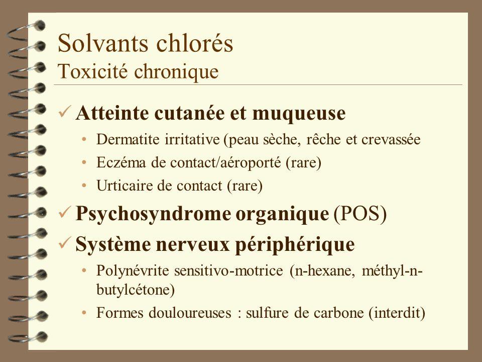 Solvants chlorés Toxicité chronique