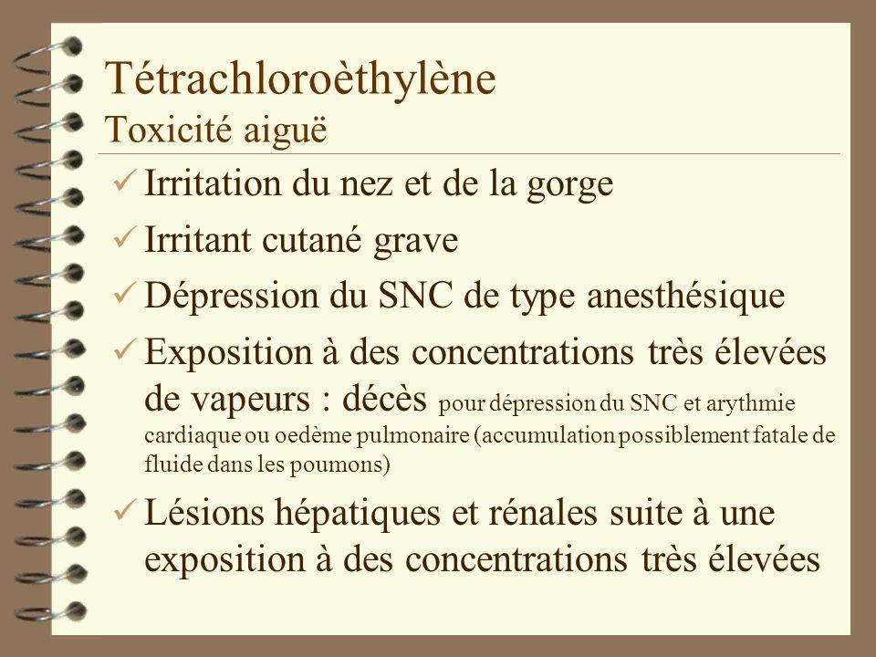Tétrachloroèthylène Toxicité aiguë