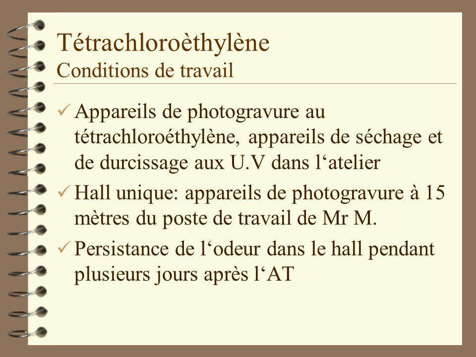 Tétrachloroèthylène Conditions de travail