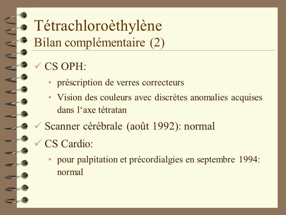 Tétrachloroèthylène Bilan complémentaire (2)