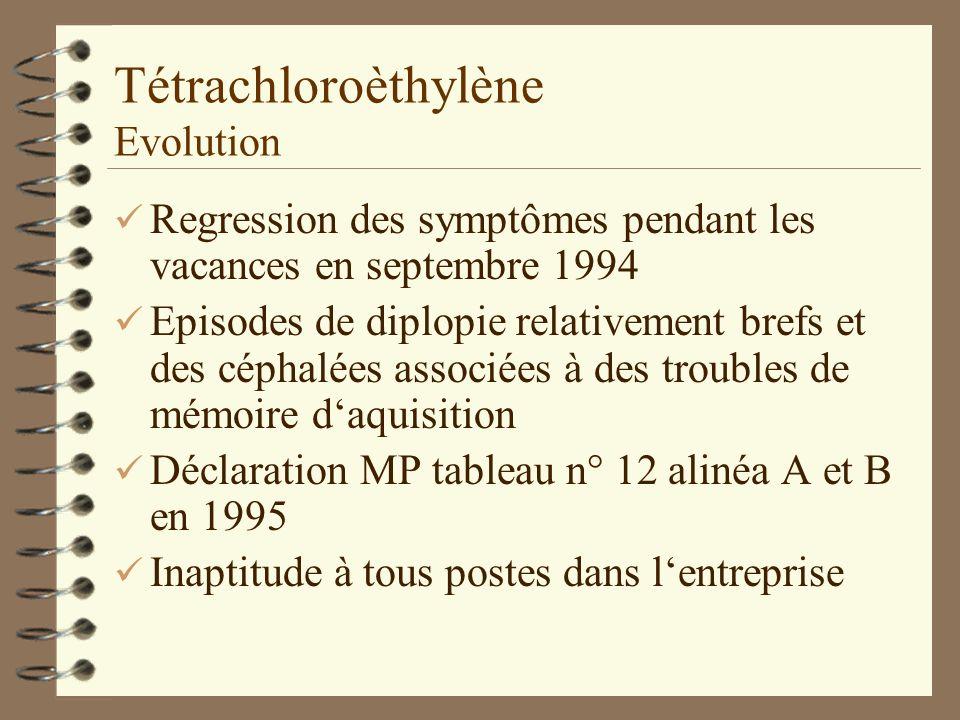 Tétrachloroèthylène Evolution