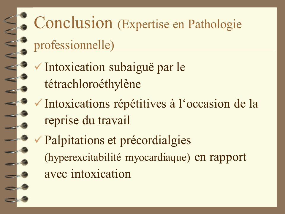 Conclusion (Expertise en Pathologie professionnelle)