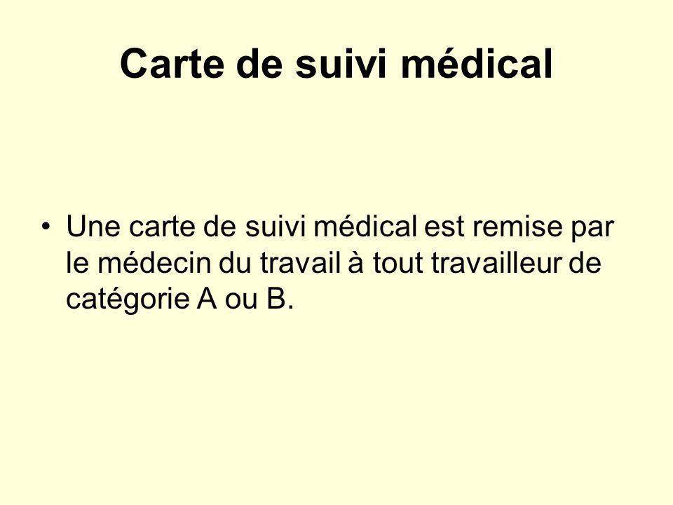 Carte de suivi médical Une carte de suivi médical est remise par le médecin du travail à tout travailleur de catégorie A ou B.