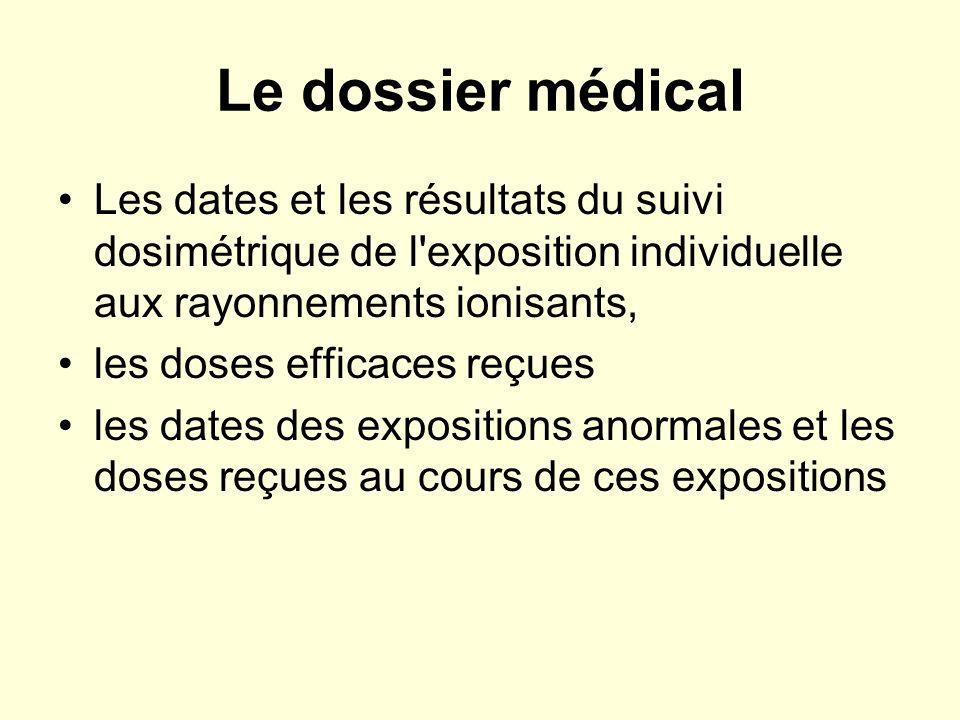 Le dossier médical Les dates et les résultats du suivi dosimétrique de l exposition individuelle aux rayonnements ionisants,