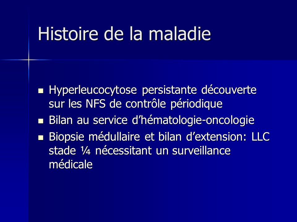Histoire de la maladie Hyperleucocytose persistante découverte sur les NFS de contrôle périodique. Bilan au service d'hématologie-oncologie.