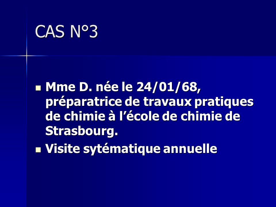 CAS N°3Mme D. née le 24/01/68, préparatrice de travaux pratiques de chimie à l'école de chimie de Strasbourg.