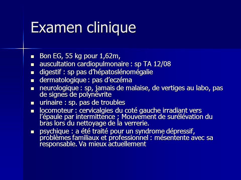 Examen clinique Bon EG, 55 kg pour 1,62m,
