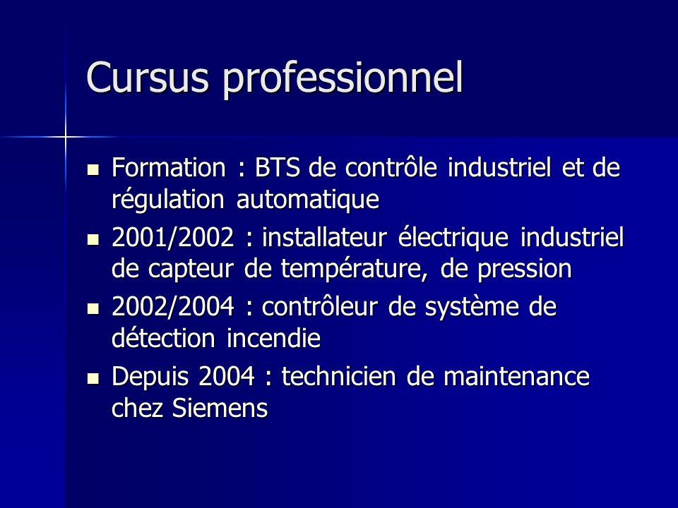 Cursus professionnel Formation : BTS de contrôle industriel et de régulation automatique.