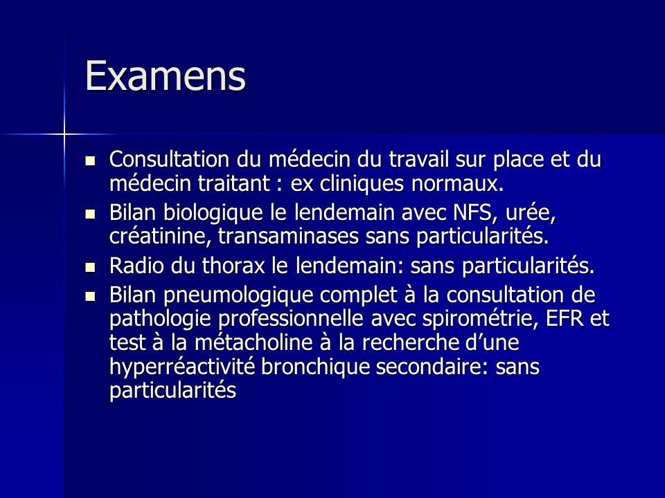 Examens Consultation du médecin du travail sur place et du médecin traitant : ex cliniques normaux.