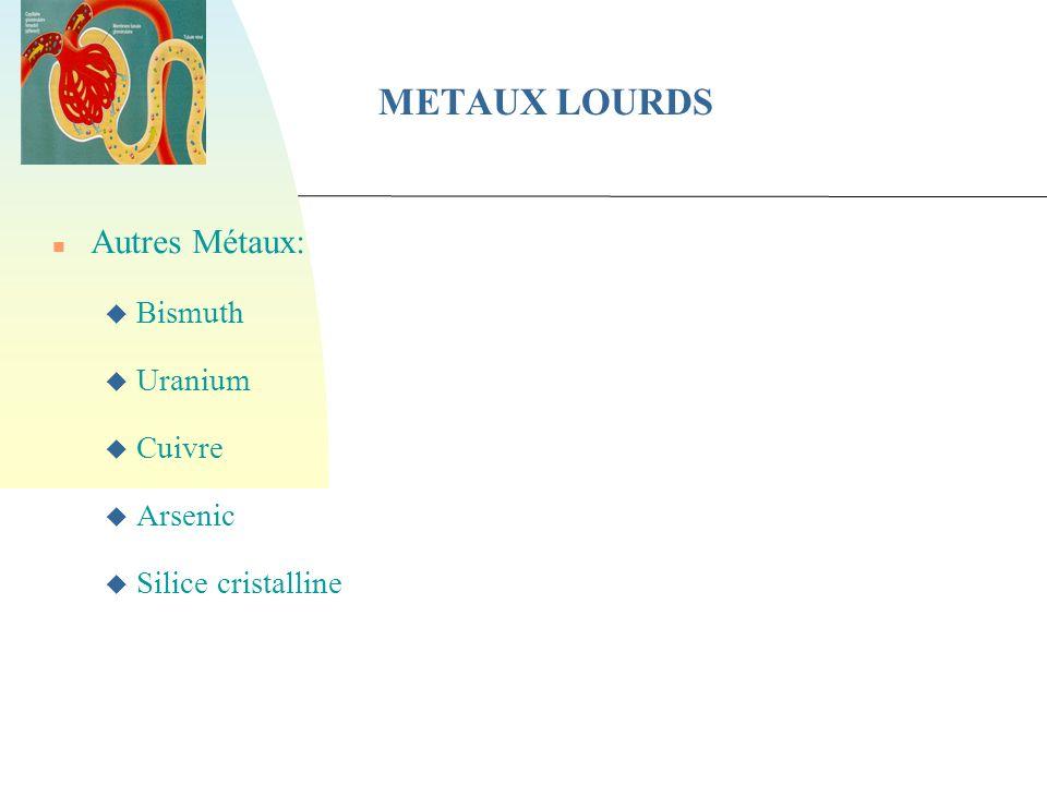 METAUX LOURDS Autres Métaux: Bismuth Uranium Cuivre Arsenic