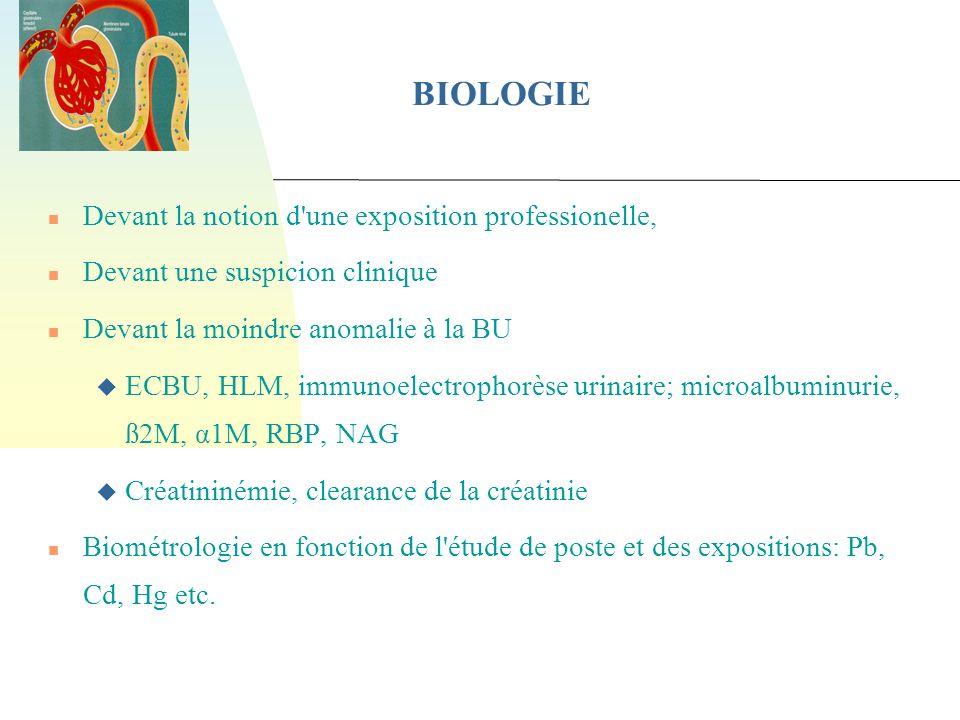 BIOLOGIE Devant la notion d une exposition professionelle,