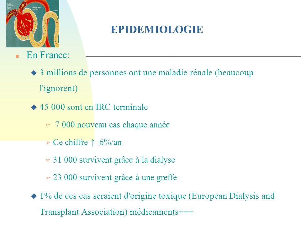 EPIDEMIOLOGIE En France: