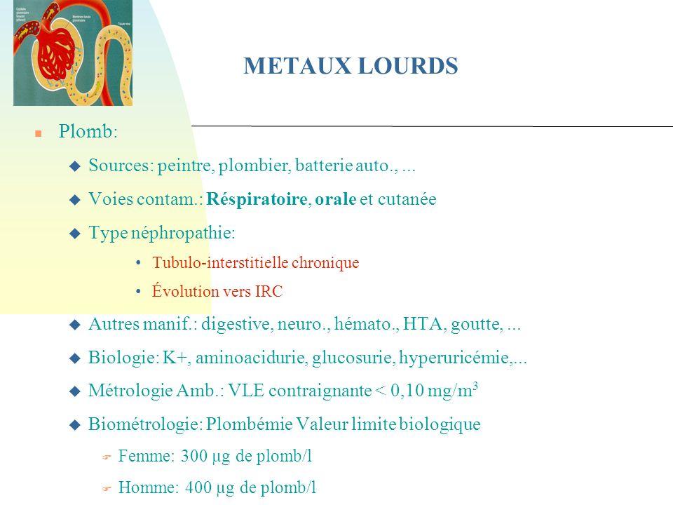 METAUX LOURDS Plomb: Sources: peintre, plombier, batterie auto., ...