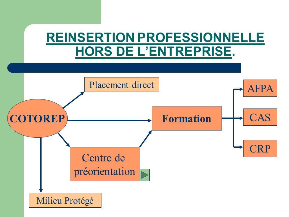 REINSERTION PROFESSIONNELLE HORS DE L'ENTREPRISE.