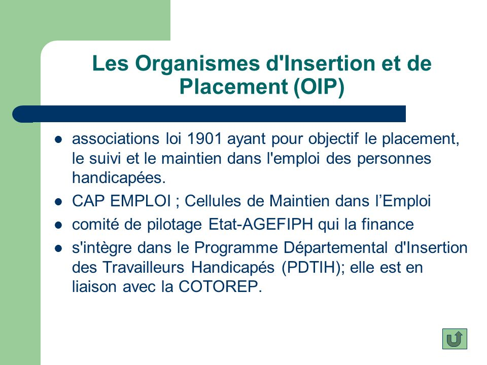 Les Organismes d Insertion et de Placement (OIP)