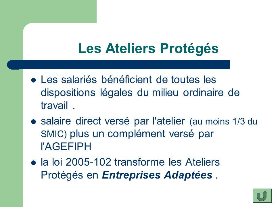 Les Ateliers Protégés Les salariés bénéficient de toutes les dispositions légales du milieu ordinaire de travail .