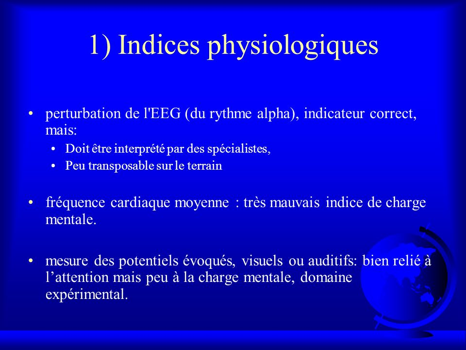 1) Indices physiologiques