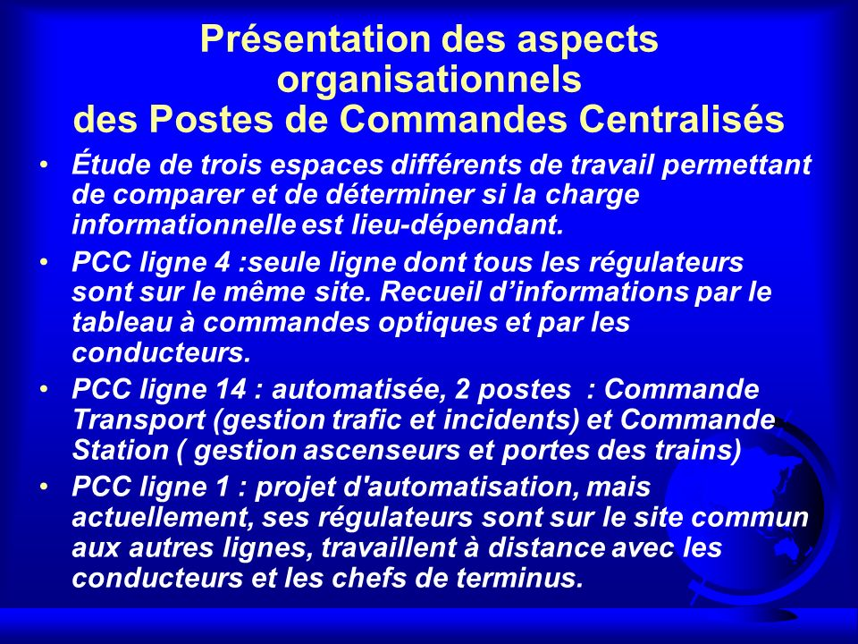 Présentation des aspects organisationnels des Postes de Commandes Centralisés