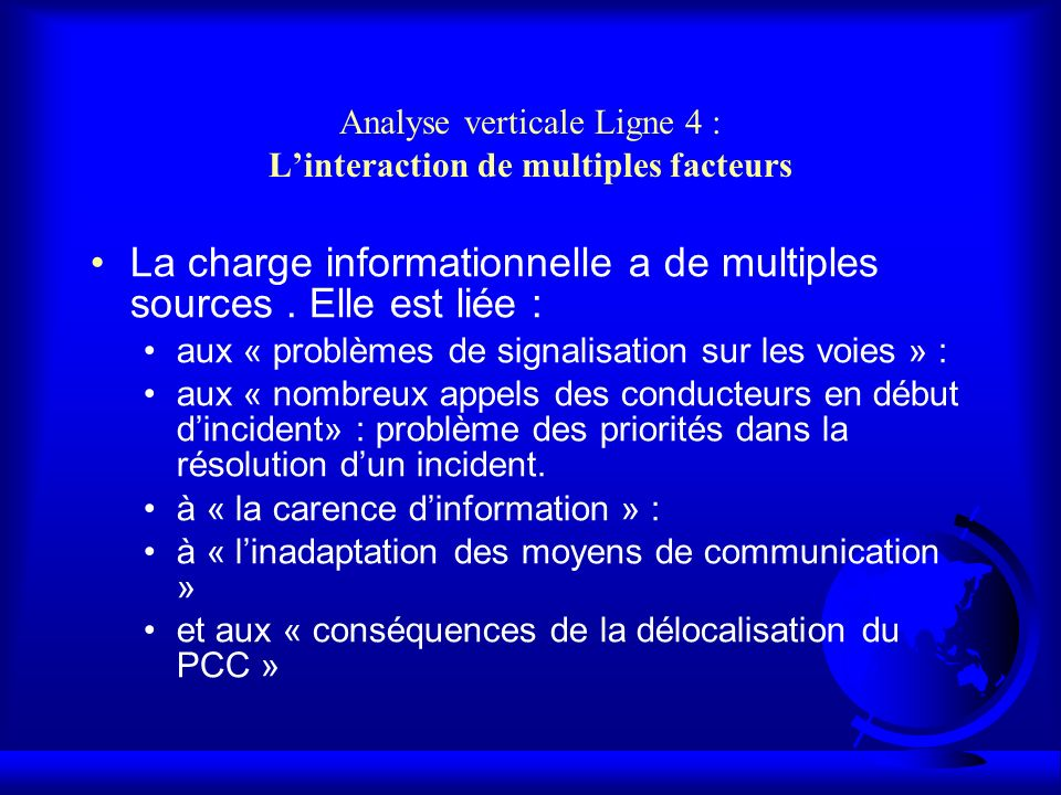 Analyse verticale Ligne 4 : L'interaction de multiples facteurs