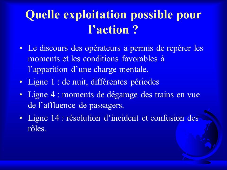 Quelle exploitation possible pour l'action
