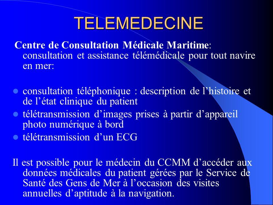 TELEMEDECINE Centre de Consultation Médicale Maritime: consultation et assistance télémédicale pour tout navire en mer: