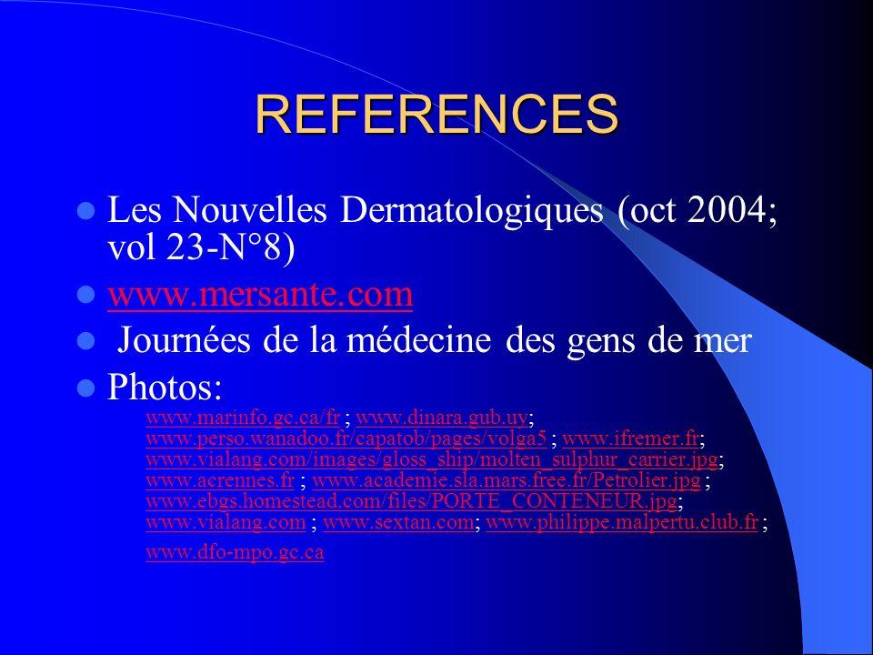 REFERENCES Les Nouvelles Dermatologiques (oct 2004; vol 23-N°8)