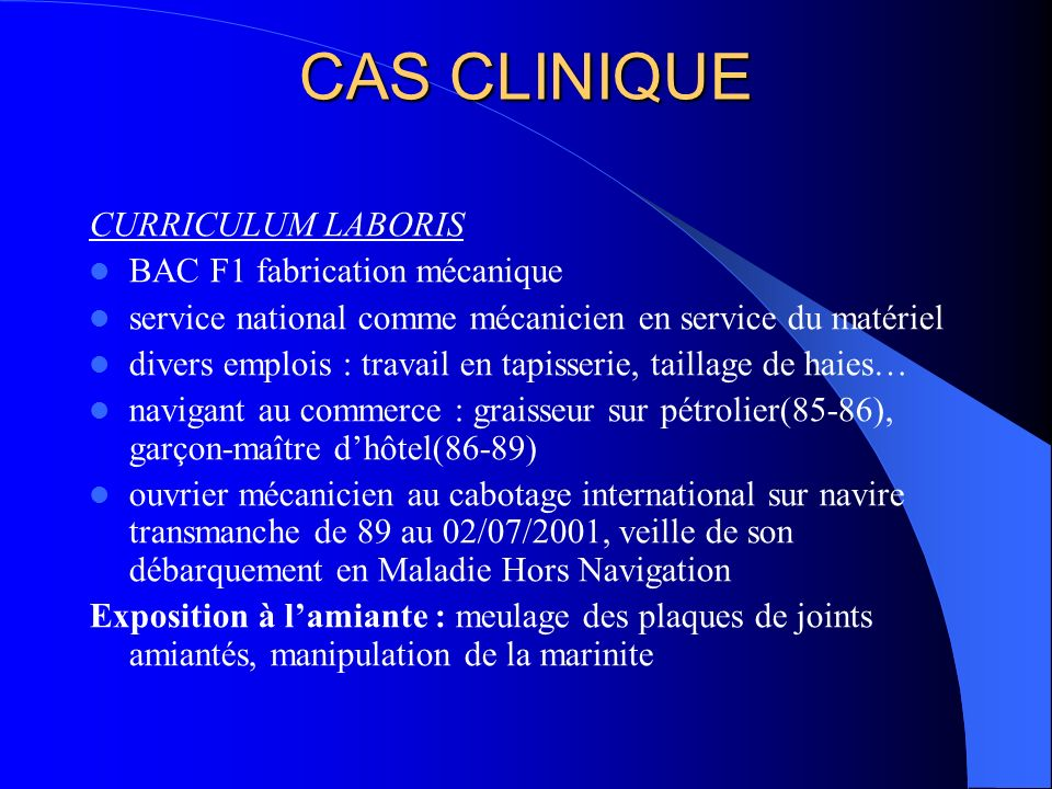 CAS CLINIQUE CURRICULUM LABORIS BAC F1 fabrication mécanique