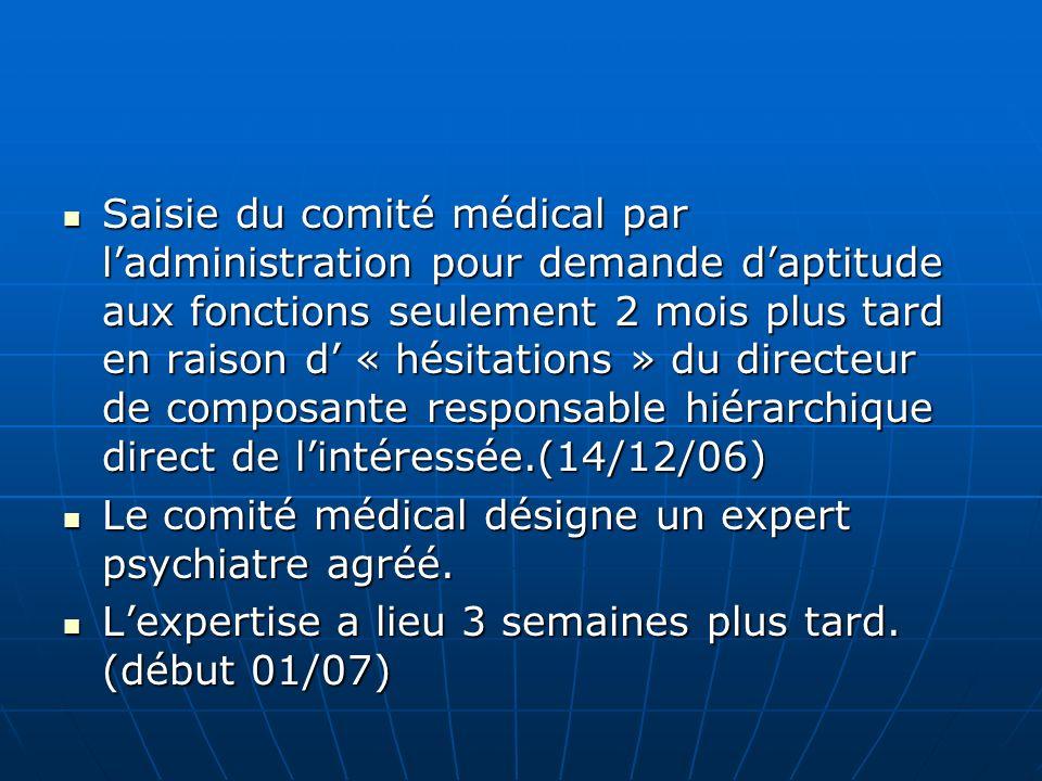 Saisie du comité médical par l'administration pour demande d'aptitude aux fonctions seulement 2 mois plus tard en raison d' « hésitations » du directeur de composante responsable hiérarchique direct de l'intéressée.(14/12/06)