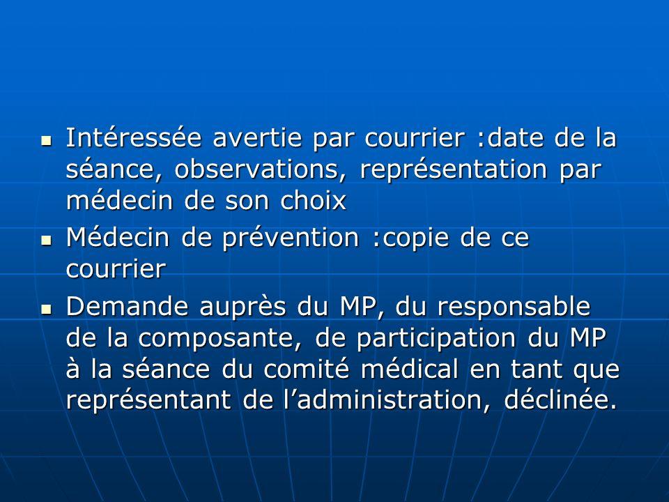 Intéressée avertie par courrier :date de la séance, observations, représentation par médecin de son choix
