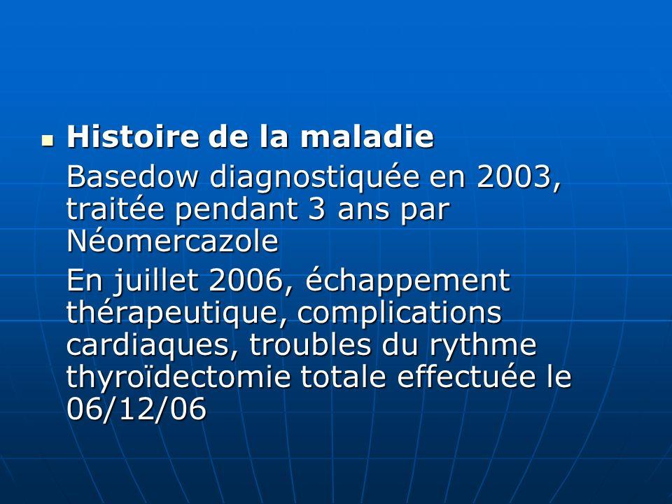 Histoire de la maladie Basedow diagnostiquée en 2003, traitée pendant 3 ans par Néomercazole.