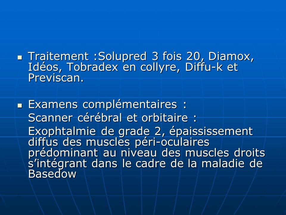 Traitement :Solupred 3 fois 20, Diamox, Idéos, Tobradex en collyre, Diffu-k et Previscan.