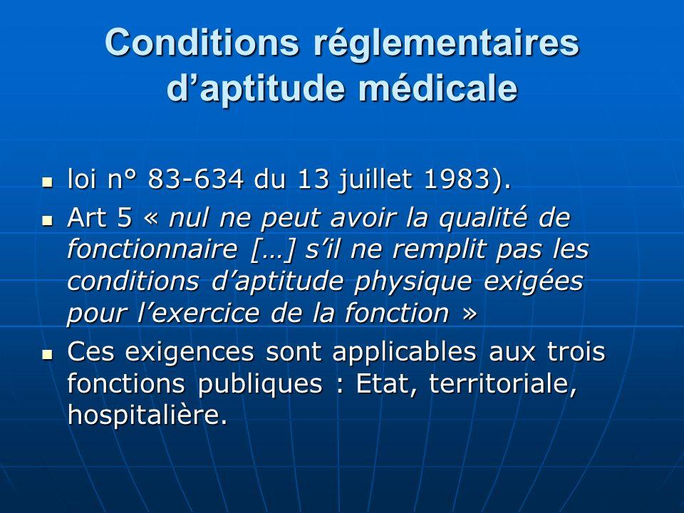 Conditions réglementaires d'aptitude médicale