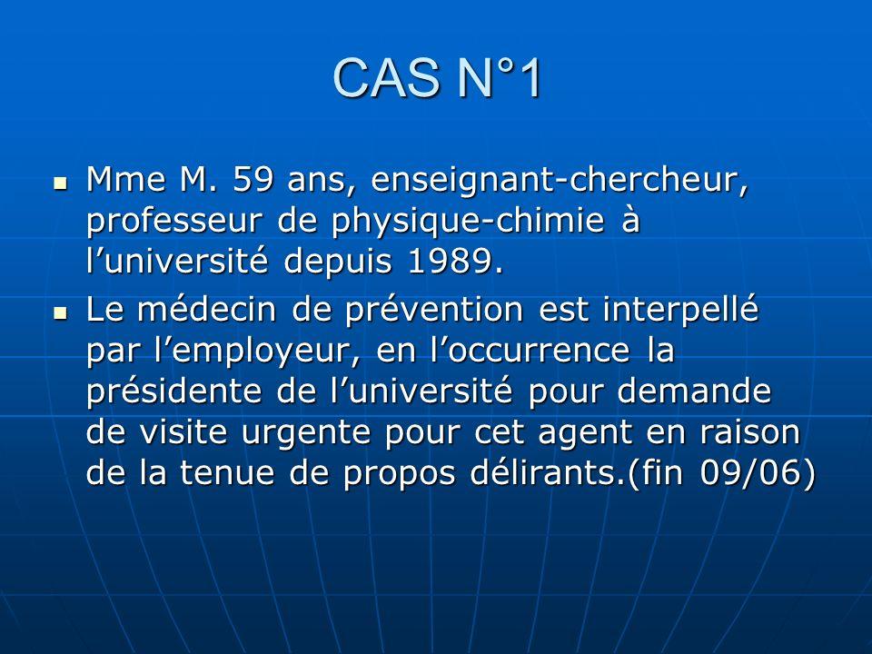 CAS N°1 Mme M. 59 ans, enseignant-chercheur, professeur de physique-chimie à l'université depuis 1989.