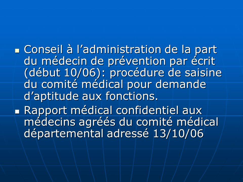 Conseil à l'administration de la part du médecin de prévention par écrit (début 10/06): procédure de saisine du comité médical pour demande d'aptitude aux fonctions.