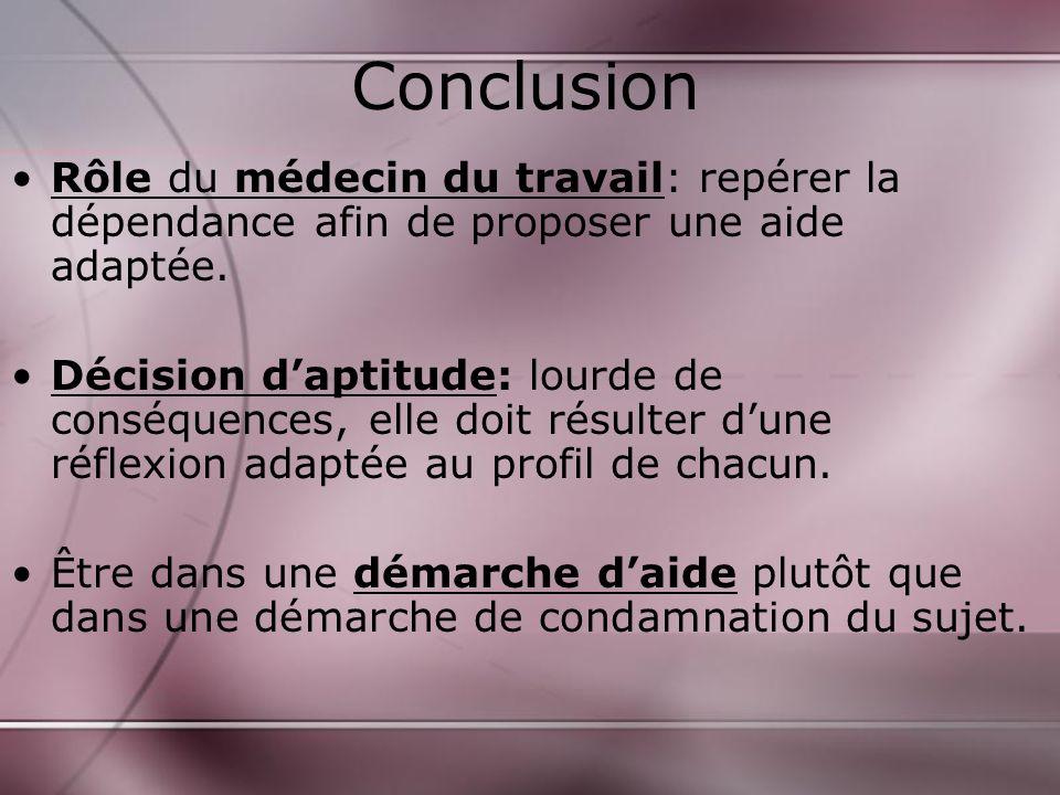 Conclusion Rôle du médecin du travail: repérer la dépendance afin de proposer une aide adaptée.