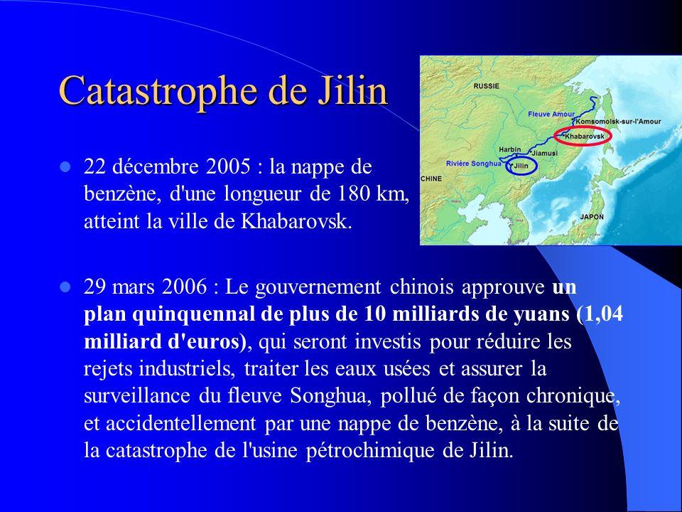 Catastrophe de Jilin 22 décembre 2005 : la nappe de benzène, d une longueur de 180 km, atteint la ville de Khabarovsk.
