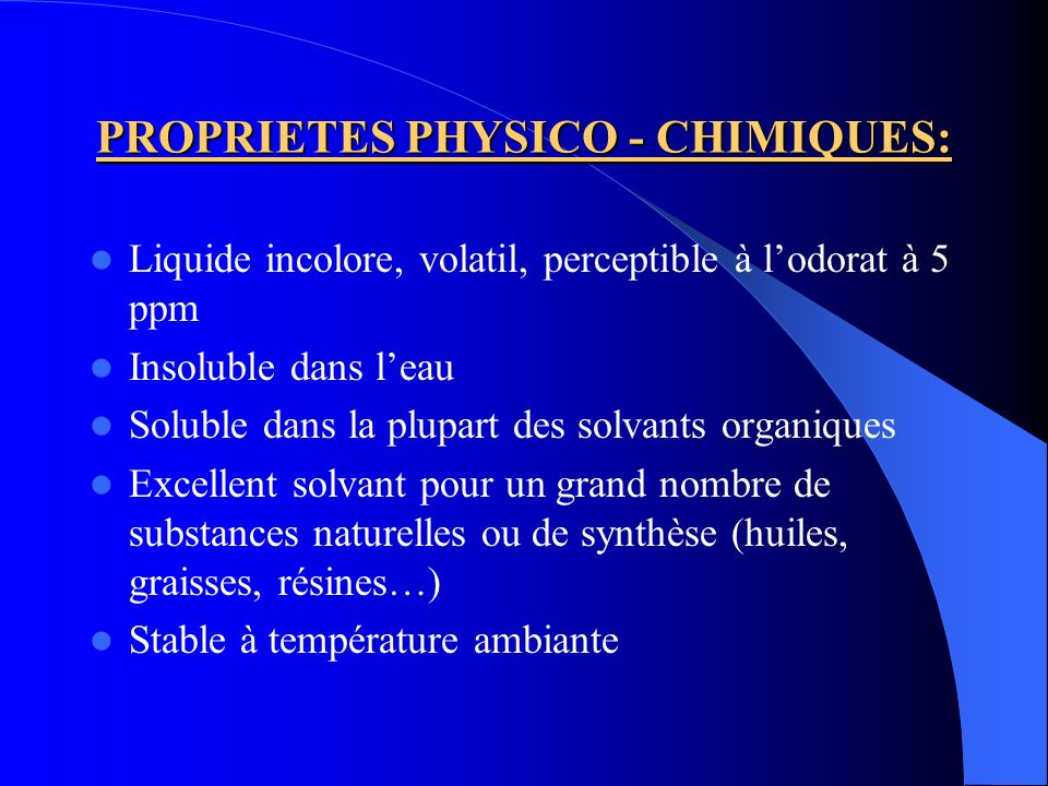 PROPRIETES PHYSICO - CHIMIQUES: