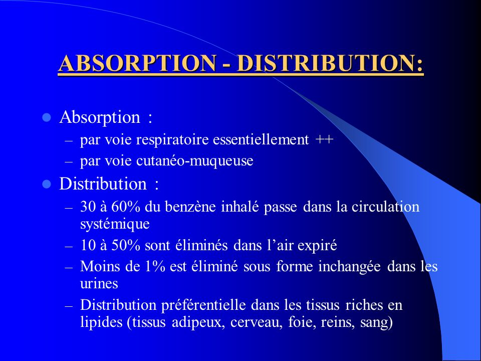 ABSORPTION - DISTRIBUTION: