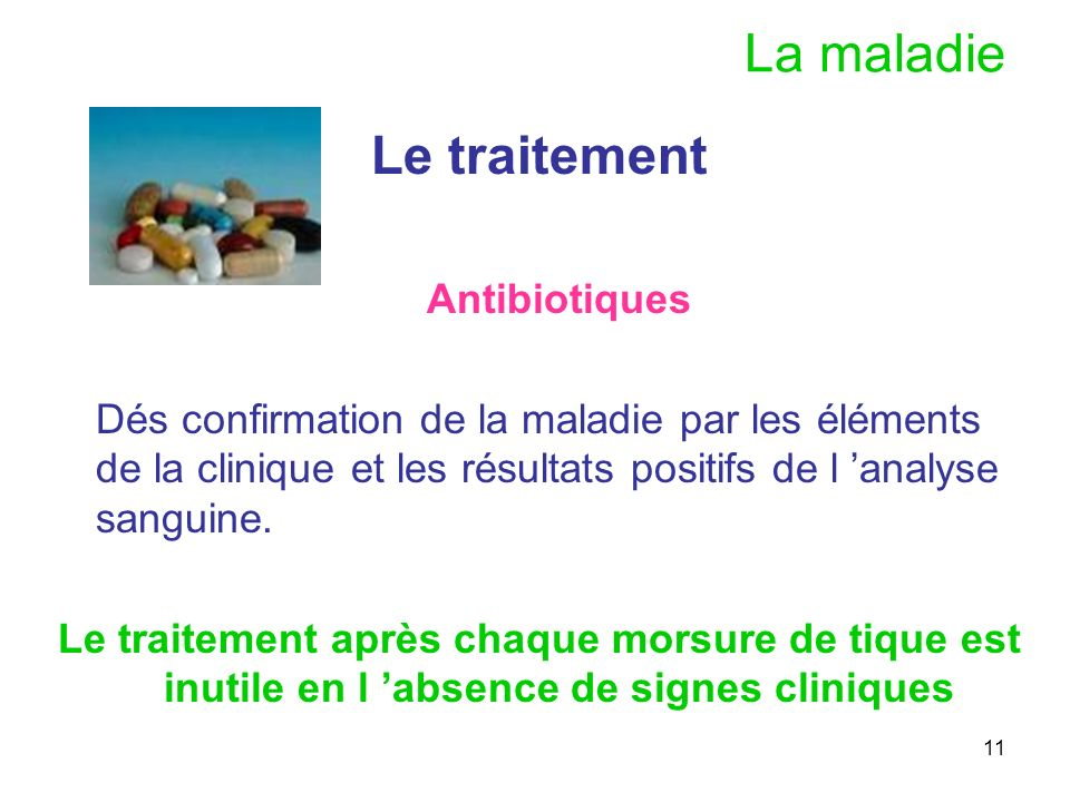 La maladie Le traitement Antibiotiques