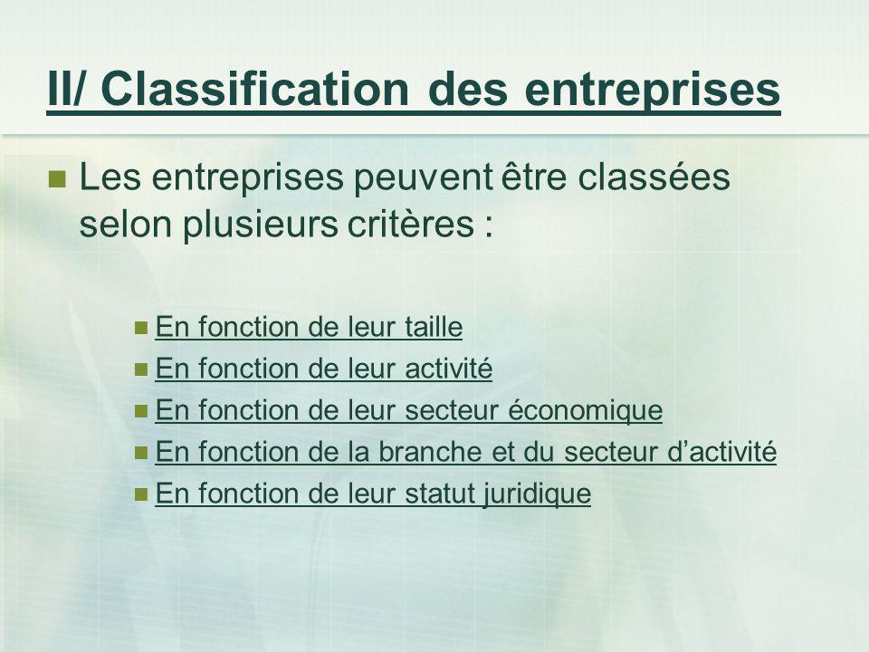 II/ Classification des entreprises