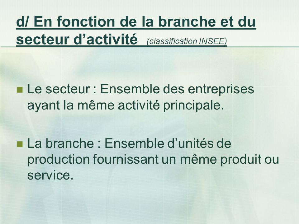 d/ En fonction de la branche et du secteur d'activité (classification INSEE)