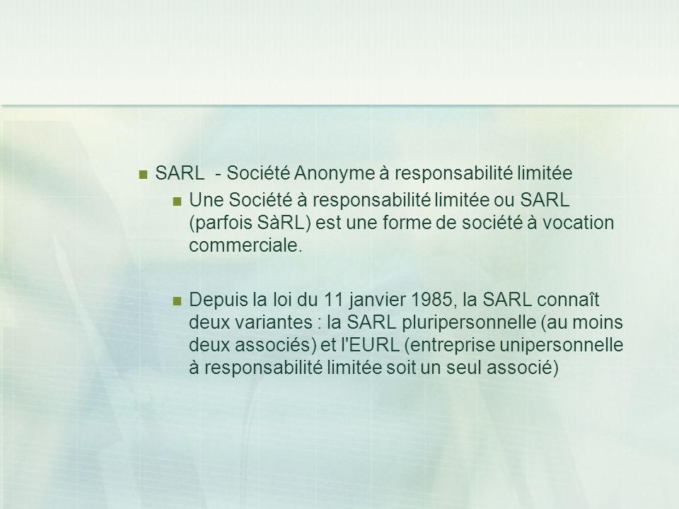 SARL - Société Anonyme à responsabilité limitée