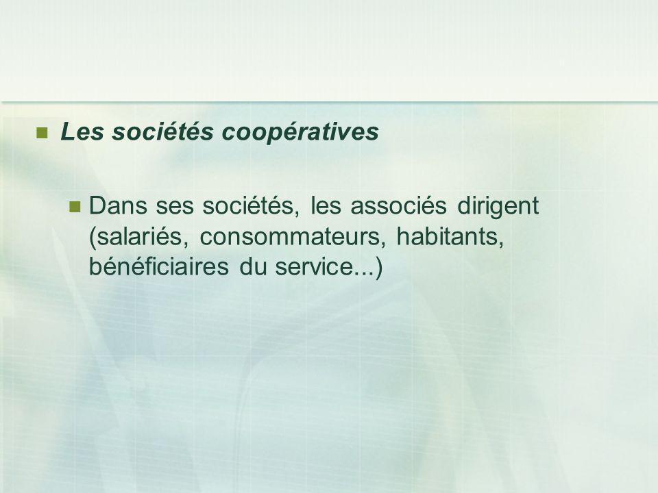 Les sociétés coopératives