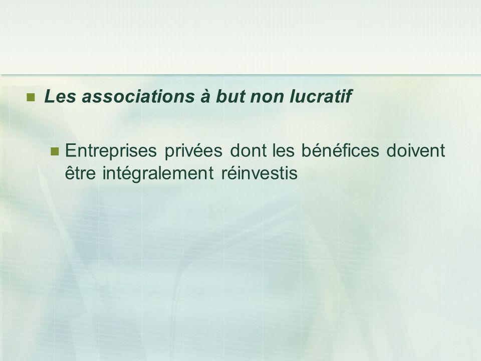 Les associations à but non lucratif