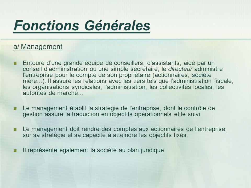 Fonctions Générales a/ Management